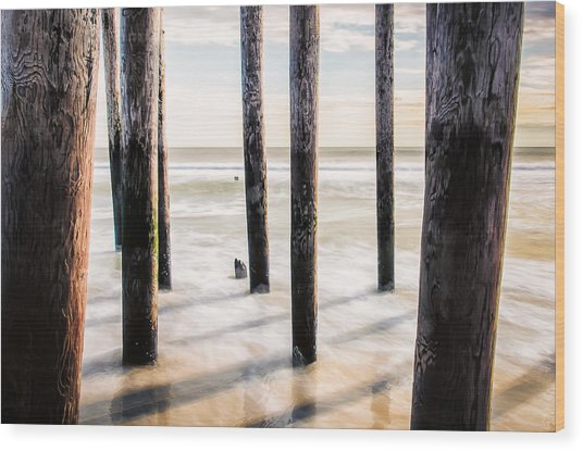 Beach Totems Wood Print