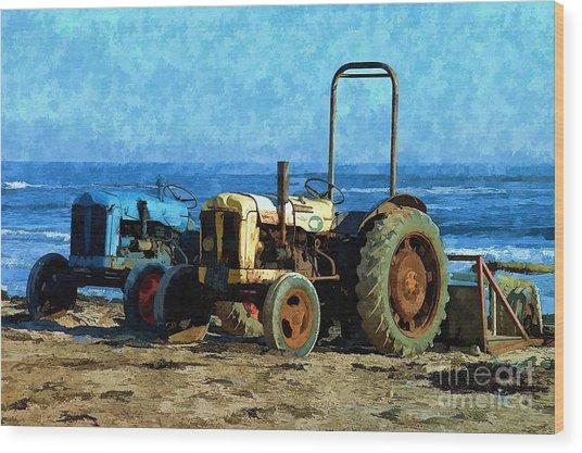 Beach Tractors Photo Art Wood Print