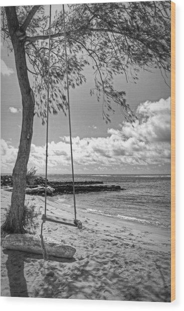 Beach Tree Swing Wood Print