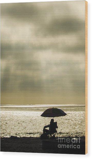 Beach Umbrella Wood Print by Deborah Smolinske