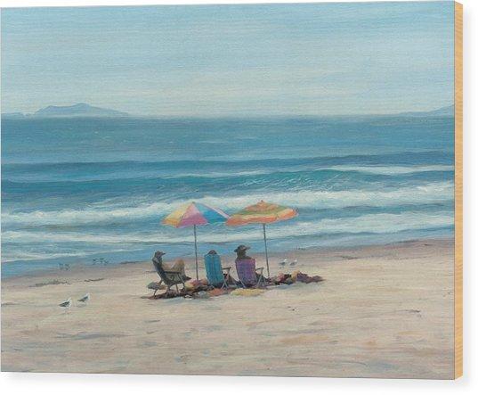 Beach Umbrellas Wood Print by Tina Obrien