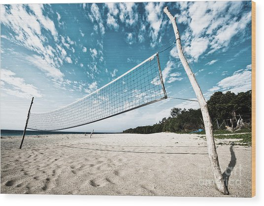 Beach Volleyball Net Wood Print