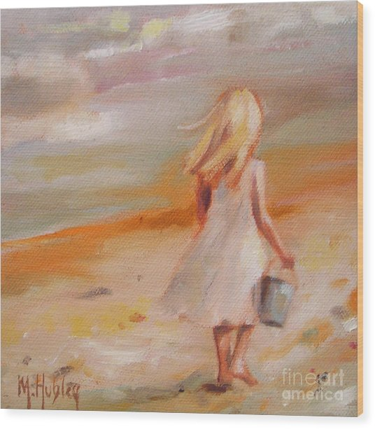 Beach Walk Girl Wood Print
