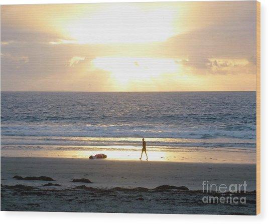 Beachcomber Encounter Wood Print