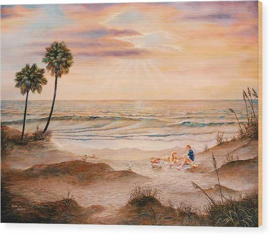 Beachcombers Wood Print