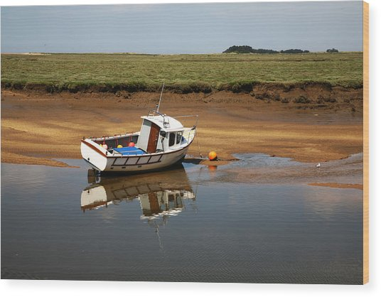 Beached Boat In River Estuary Wood Print