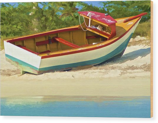 Beached Fishing Boat Of The Caribbean Wood Print