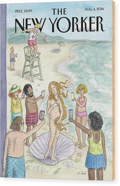 Venus On The Beach Wood Print