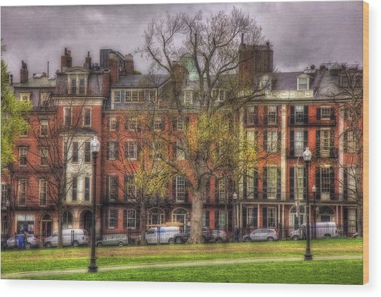 Beacon Street Brownstones - Boston Wood Print