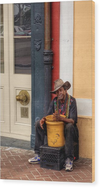 Beads And Bucket In New Orleans Wood Print