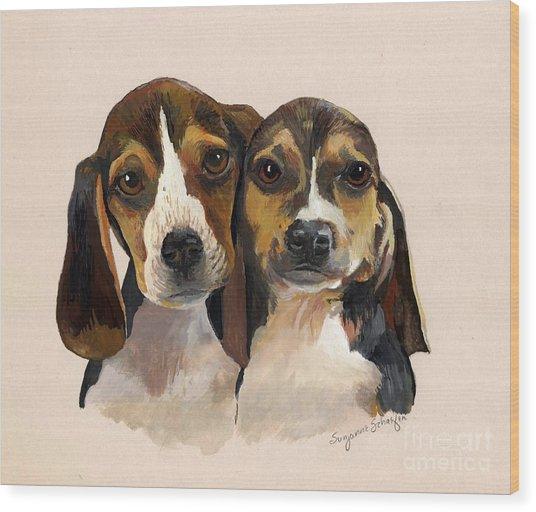 Beagle Babies Wood Print