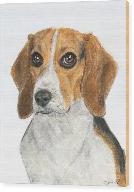 Beagle Painting Wood Print