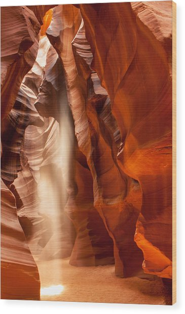 Beam Of Light In Upper Antelope Canyon Wood Print
