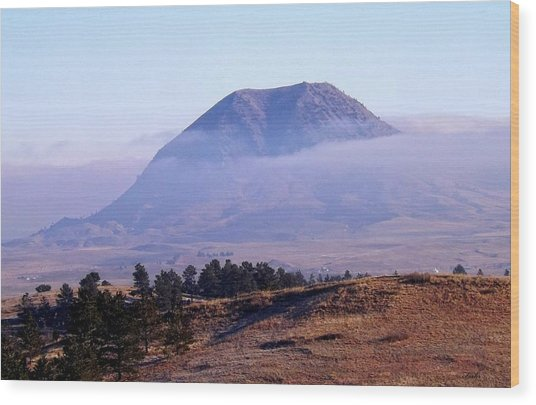 Bear Butte Fog Wood Print