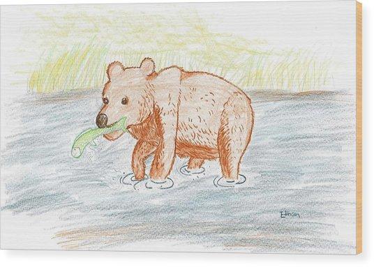 Bear Fishing Wood Print by Ethan Chaupiz