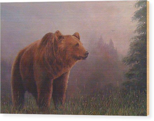 Bear In The Mist Wood Print