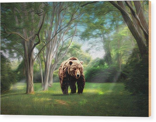 Bear Light Wood Print by Richard Trahan