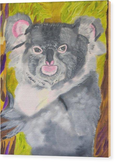 Koala Hug Wood Print