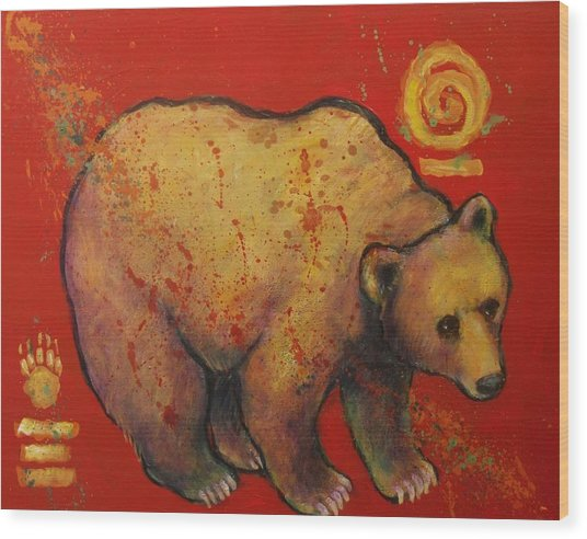 Bear Paw Grizzly Bear Wood Print