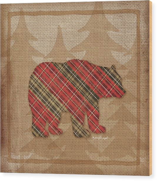 Bear Plaid Wood Print