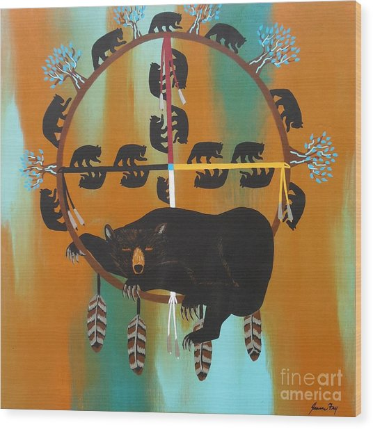 Bear Totem And Medicine Wheel Wood Print
