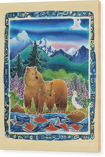 Bears And Salmon Wood Print by Harriet Peck Taylor