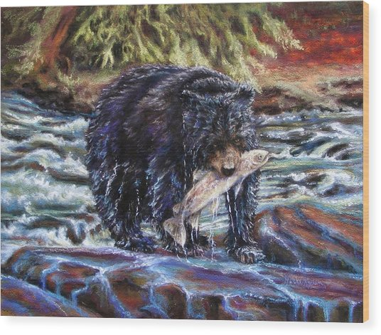 Bears' Catch Of The Day Wood Print