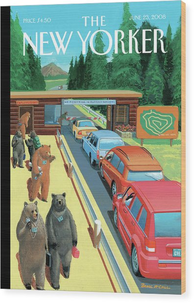 Bears Leaving Work At A National Park Wood Print