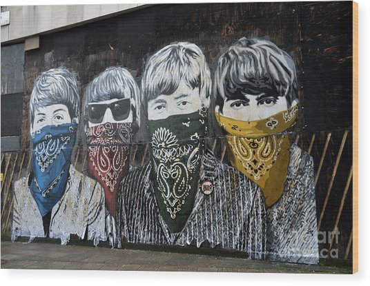 Beatles Street Mural Wood Print