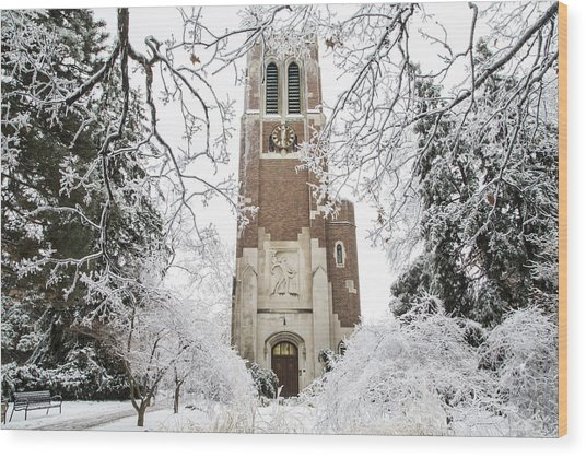 Beaumont Tower Ice Storm  Wood Print