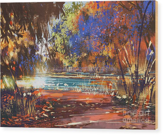 Beautiful Autumn Landscape With Flowers Wood Print