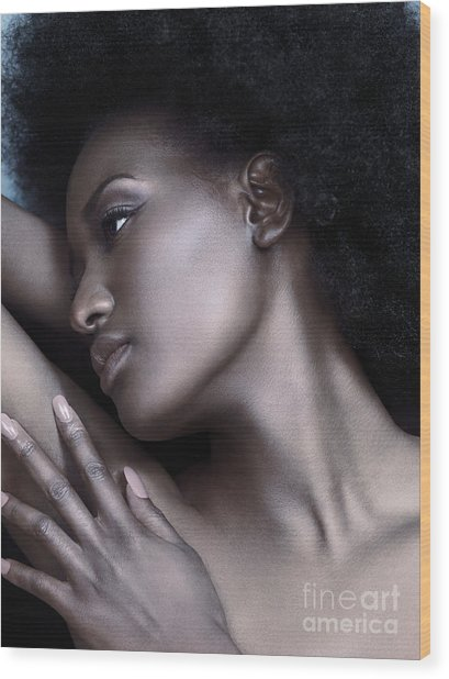 Beautiful Black Woman Face With Shiny Silver Skin Wood Print