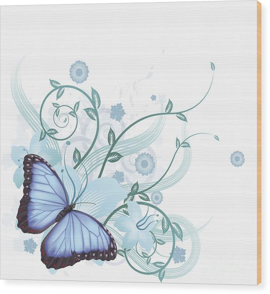 Beautiful Blue Butterfly Background Wood Print by Christos Georghiou
