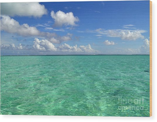 Beautiful Bora Bora Green Water And Blue Sky Wood Print