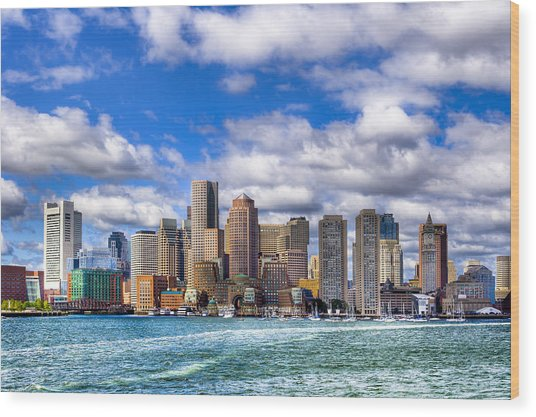 Wood Print featuring the photograph Beautiful Boston Skyline From The Harbor by Mark E Tisdale