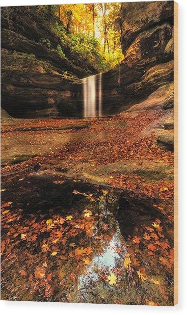Beautiful Canyon And Waterfall Wood Print by Sushmita Sadhukhan