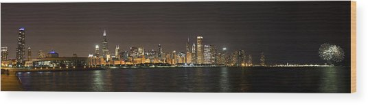 Beautiful Chicago Skyline With Fireworks Wood Print