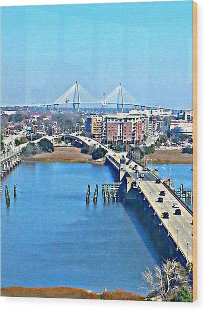 Charleston S C City View Wood Print