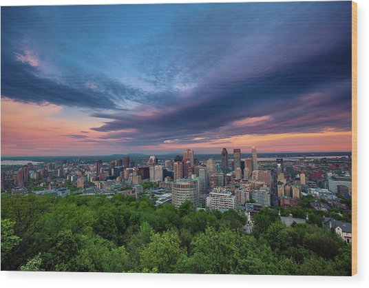 Beautiful Cloud Over The Montreal City Wood Print by D3sign