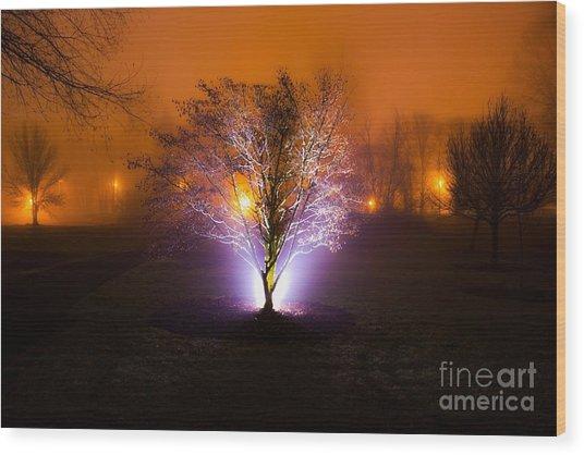Beautiful Foggy Night 2 Wood Print