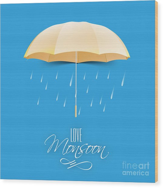 Beautiful Glossy Golden Umbrella On Wood Print