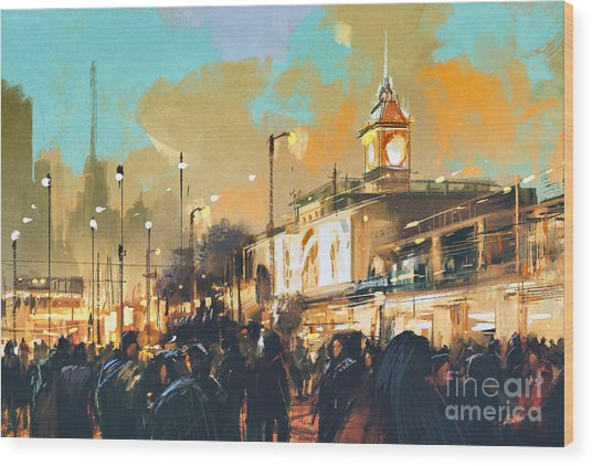 Beautiful Painting Of People In A City Wood Print