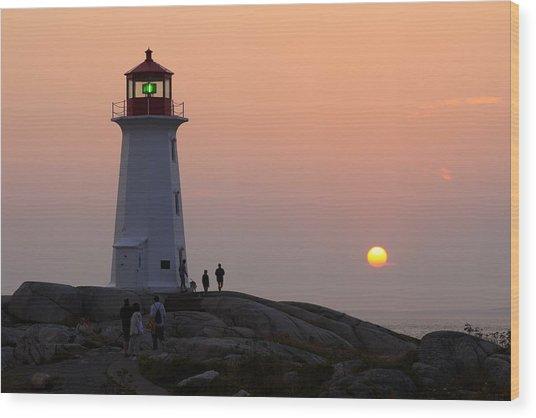 Beautiful Peggy's Cove Lighthouse Sunset Wood Print