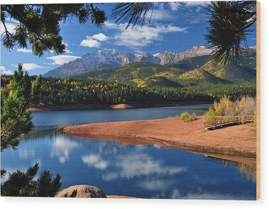 Beautiful Pikes Peak At Crystal  Wood Print
