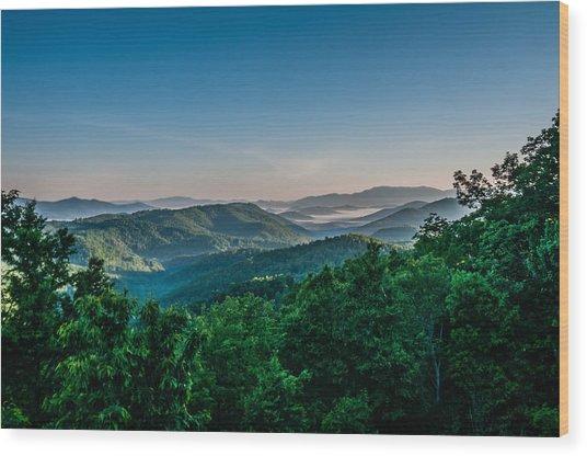 Beautiful Scenery From Crowders Mountain In North Carolina Wood Print