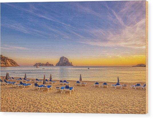 Beautiful Sunset Beach At Cala D´hort On Ibiza Wood Print by Juergen Sack