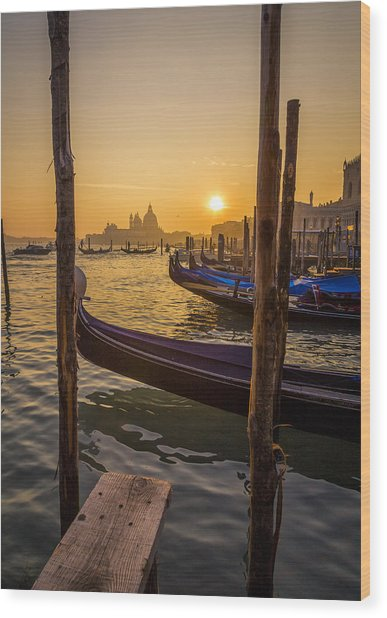 Beautiful Sunset In Venice Wood Print by Francesco Rizzato