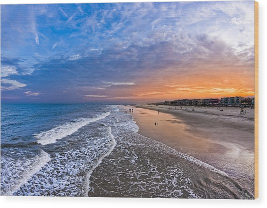 Wood Print featuring the photograph Beautiful Sunset Over Tybee Island by Mark E Tisdale