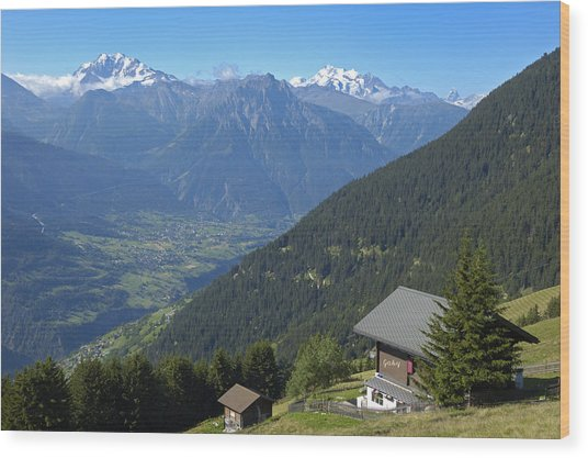 Beautiful View From Riederalp - Swiss Alps Wood Print