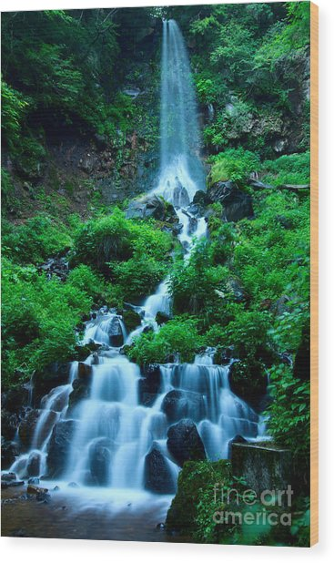 Beautiful Waterfalls In Karuizawa Japan Wood Print
